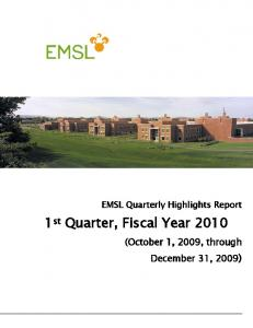 1st Quarter, Fiscal Year 2010 - Pacific Northwest National Laboratory