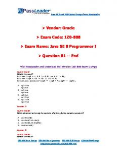 1Z0-808 Exam Name: Java SE 8 Programmer I