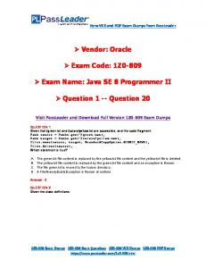 1Z0-809 Exam Name: Java SE 8 Programmer II