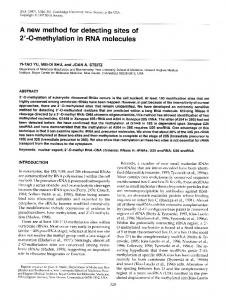 2'-0-methylation in RNA molecules - NCBI