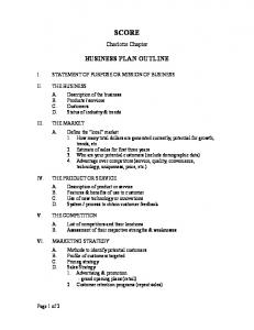 2 Page Business Plan Outline (PDF) - score