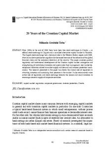 20 Years of the Croatian Capital Market