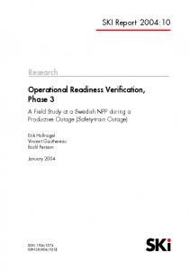 2004:10 Operational Readiness Verification, Phase 3. A Field Study at