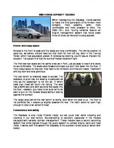 2005 HONDA ODYSSEY TOURING When redesigning the Odyssey ...
