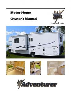 2006 Adventurer Motorhome Owners Manual