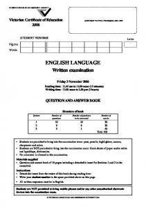 2006 English Language written examination - Victorian Curriculum ...