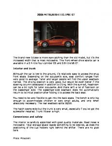 2006 MITSUBISHI ECLIPSE GT The brand new Eclipse is more eye ...