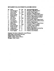 2007 BABSON COLLEGE WOMEN'S LACROSSE ROSTER No ...