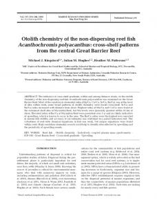 (2009). Otolith chemistry of the non-dispersing reef fish - UNSW