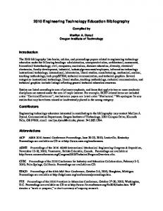 2010 Engineering Technology Education Bibliography