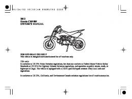 2012 Honda CRF50F OWNER'S MANUAL - Honda Motorcycles
