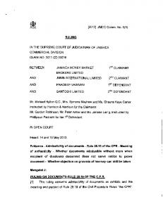 [2012] JMCC Comm. No. 5(1) - The Supreme Court
