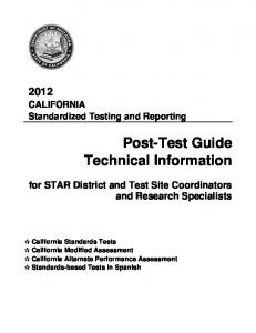 2012 STAR Post-Test Guide