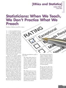 [2012] Statisticians: When we teach, we don't practice what we preach.