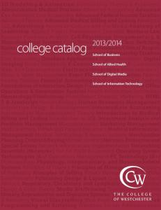2013-14 College Catalog - College of Westchester