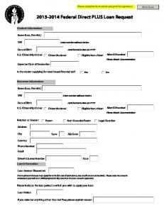 2013 2014 Federal Direct PLUS Loan Request Form   Financial Aid