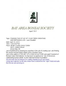 2013 - Bay Area Bonsai Society