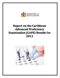 2013 CAPE Report Final.pdf - Ministry of Education
