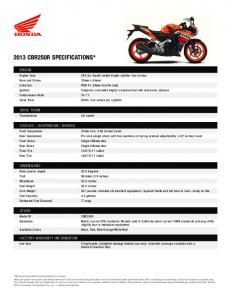 2013 CBR250R SPECIFICATIONS*