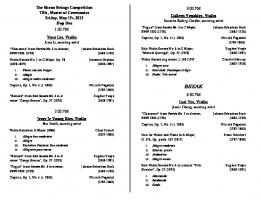 2013 Competition Detailed Programme Information