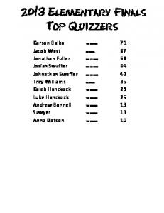 2013 Elementary Finals Top Quizzers