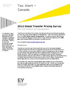 2013 Global Transfer Pricing Survey - Ernst & Young