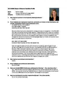 2013 HEDNA Board of Directors Candidate Profile