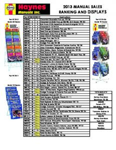 2013 manual sales ranking and displays - Connolly Sales & Marketing