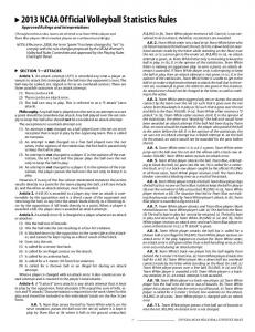 2013 NCAA Official Volleyball Statistics Rules - NCAA.org
