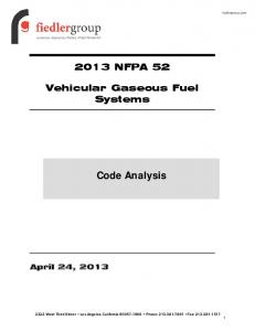 2013 NFPA 52 Vehicular Gaseous Fuel Systems Code Analysis