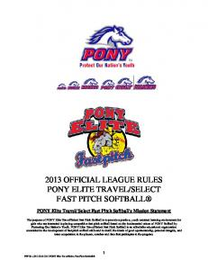 2013 Official League Rules PEF - ASE Fast Pitch