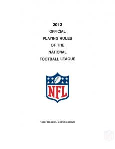 2013 official playing rules of the national football league