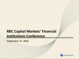2013 RBC Capital Markets' Financial Institutions Conference