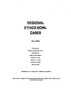 2013 Regional Ethics Bowl Cases - Association for Practical and ...