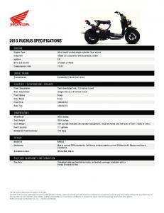 2013 RUCKUS SpeCifiCationS* - Honda Powersports