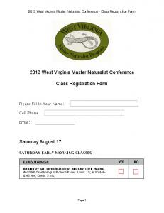 2013 West Virginia Master Naturalist Conference Class Registration ...