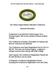 2013 West Virginia Master Naturalist Conference General ...