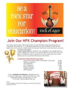 2014 Champion Sponsor Packet - Holy Family School