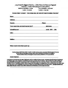 2014 Little Prince & Princess Entry Form - Wmuf
