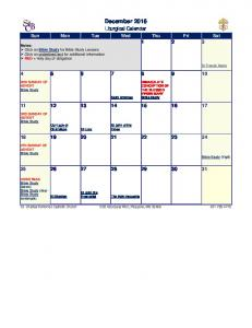 2014 Liturgical Calendar - St. Charles Borromeo Catholic Church