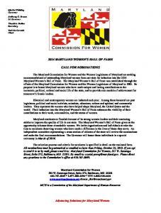 2014 MARYLAND WOMEN'S HALL OF FAME CALL FOR ...