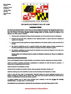 2014 MARYLAND WOMEN'S HALL OF FAME Nomination Criteria