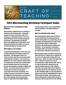2014 Microteaching Workshop Participant Guide