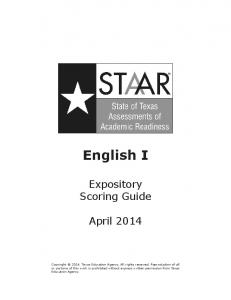 2014 STAAR Eng I Expository Writing Scoring Guide
