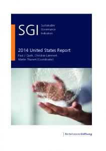 2014 United States Country Report | SGI Sustainable ... - SGI Network