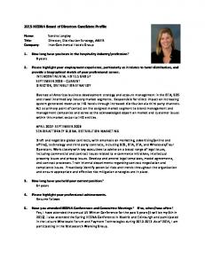 2015 HEDNA Board of Directors Candidate Profile