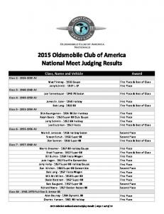 2015 Oldsmobile Club of America National Meet Judging Results