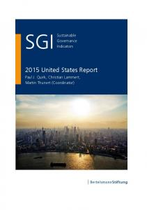 2015 USA Country Report | SGI Sustainable ... - SGI Network