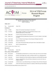 2016 ACVIM Forum Research Report Program - Wiley Online Library