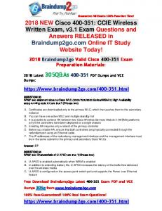 2018 Braindump2go New 400-351 Dumps PDF and 400-351 Dumps VCE 305Q Free Offer(93-103)